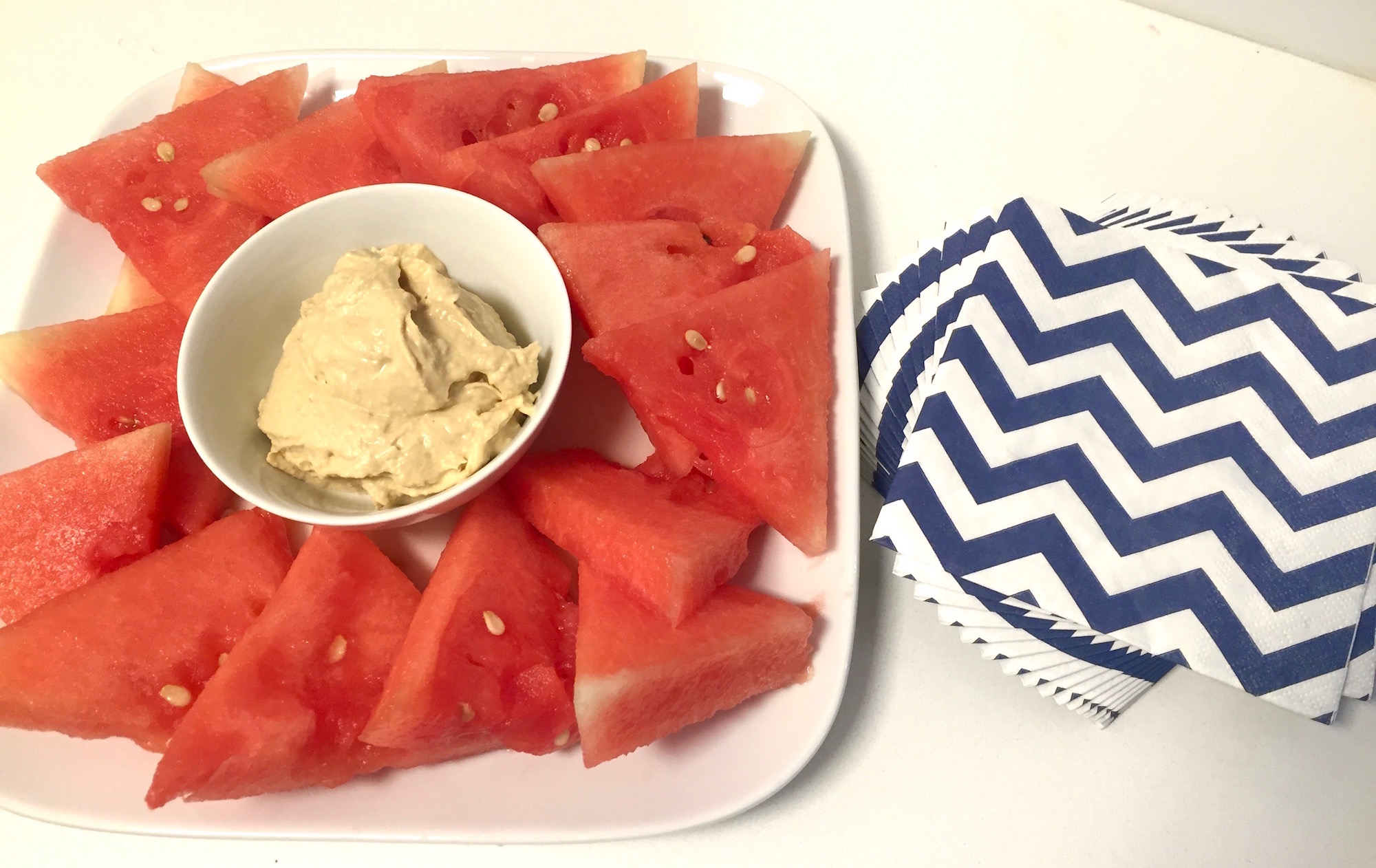 Red, White, and Blue Hummus Platter