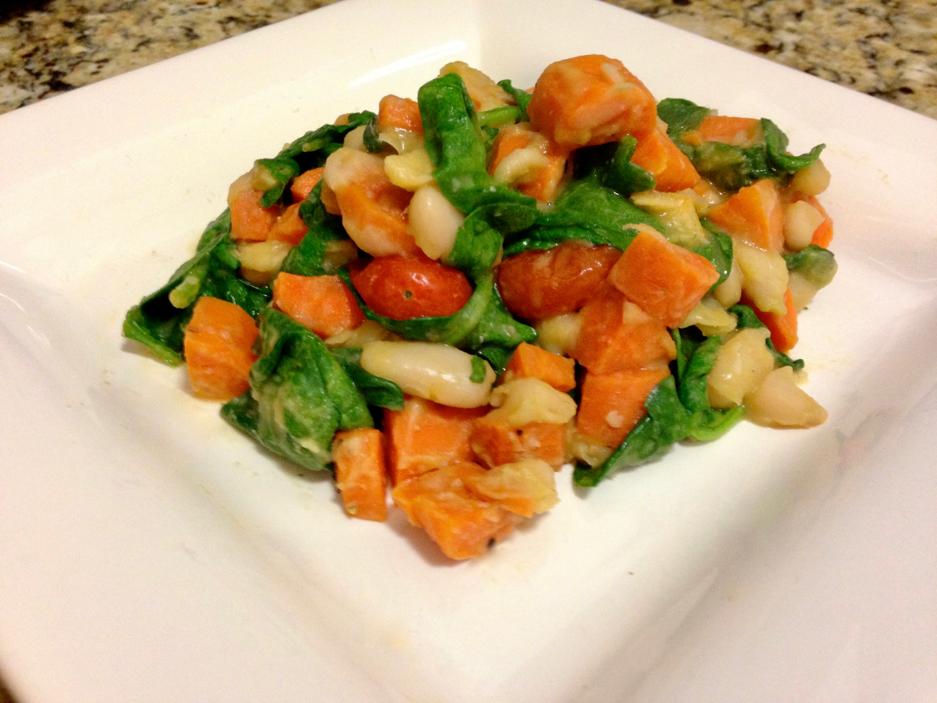 Garlicky White Beans, Tomatoes and Spinach